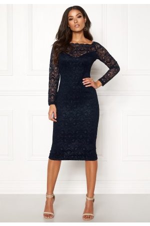 Ax Paris Lace Off Shoulder Dress Navy S (UK10)