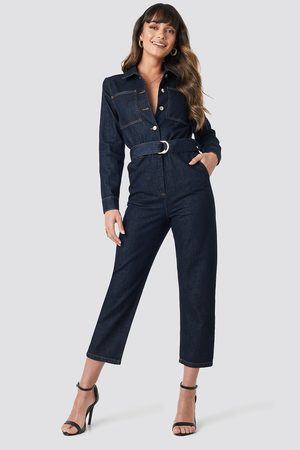 NA-KD Trend Waist Belt Denim Jumpsuit
