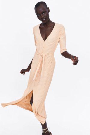 Zara Stickad klänning med skärp