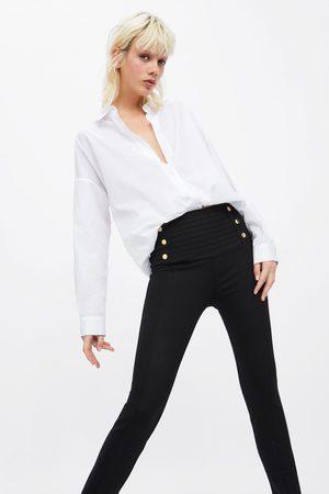 Zara Leggings med veck och knappar