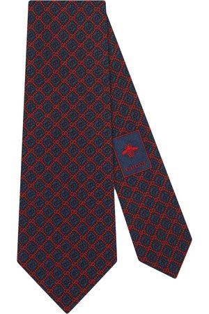 Gucci Man Slipsar - Logotyp- och rombmönstrad sidenslips