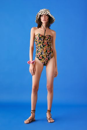 Zara Bandeau-baddräkt med mönster