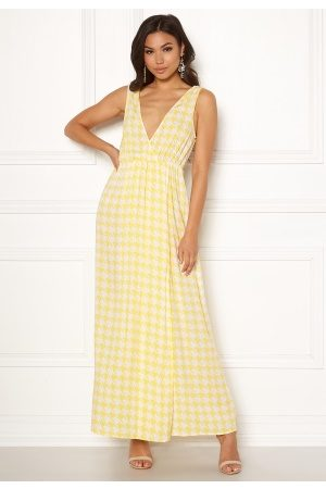 Ivyrevel Kvinna Mönstrade klänningar - Maxi Dress With Slit Yellow Pepita Print 40