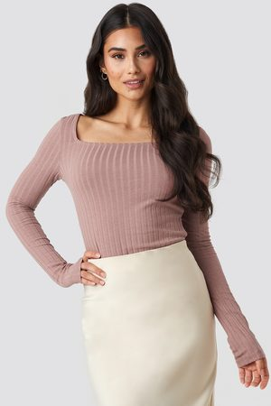 NA-KD Square Neck Long Sleeve Top - Crop Tops - Rosa - X-Large