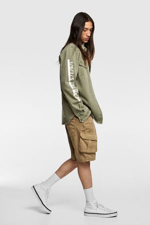Zara Skjortjacka av denim med text