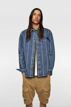 Zara Kvinna Jeansjackor - Randig skjortjacka av denim