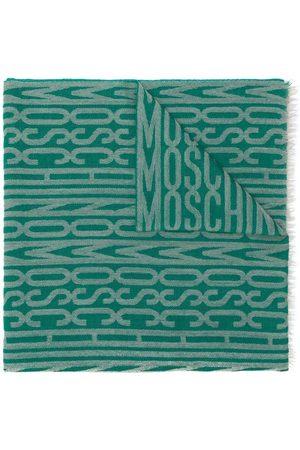 Moschino Scarf med fransar och logotyp