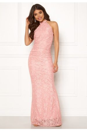 Goddiva High Neck Lace Maxi Dress Blush M (UK12)