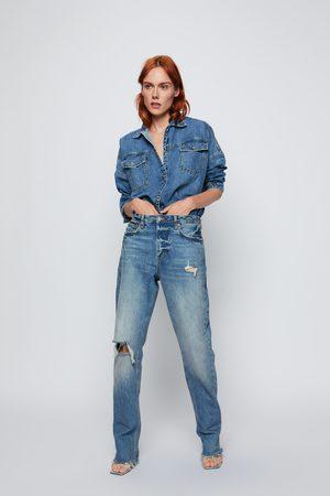 Zara Kvinna Jeansjackor - Skjortjacka zw premium denim mic blue
