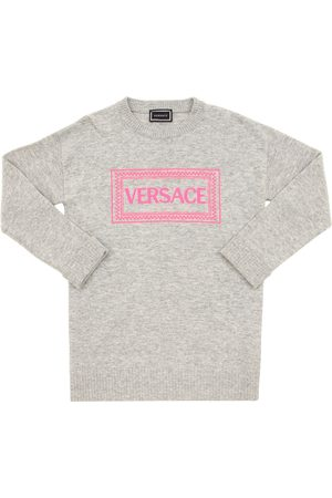 VERSACE Logo Embroidered Wool Blend Knit Dress