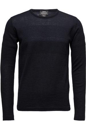 Mads Norgaard Man Stickade tröjor - 100% Light Wool Klap Stickad Tröja M. Rund Krage