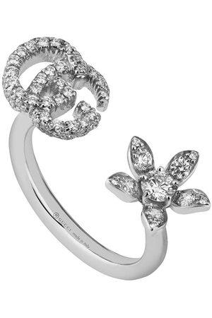Gucci Diamantring med blomma och logotyp
