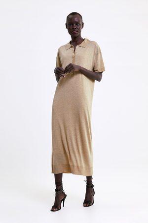 Zara Kvinna Stickade klänningar - Lång stickad klänning