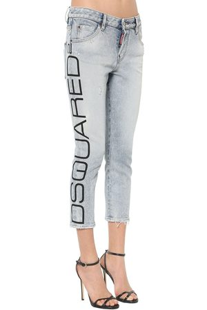 Dsquared2 Cropped Blue Acid Wash Cool Girl Jeans