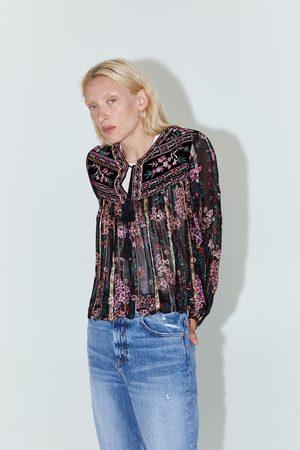 Zara Skjortjacka av broderad sammet