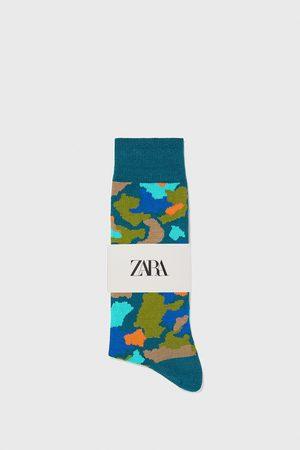 Zara Merceriserade och kamouflagemönstrade strumpor av jacquardtyg