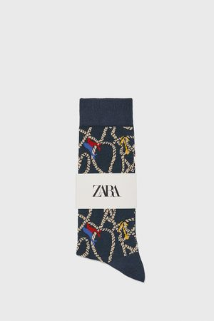 Zara Merceriserade jacquardstrumpor med seglarmotiv