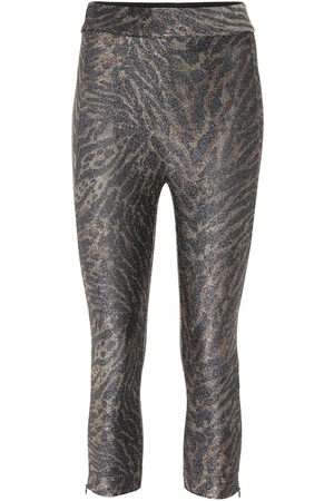 Ganni Tiger-print lurex jersey leggings