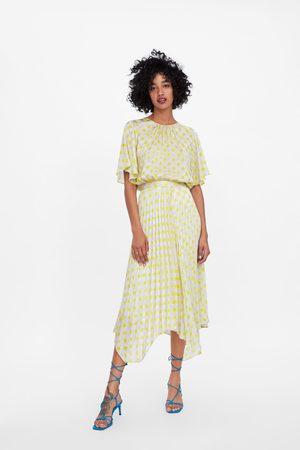 Zara Kvinna Plisserade kjolar - Plisserad kjol med prickar