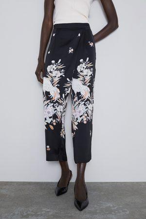 Zara Vid mönstrad byxa