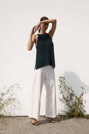 Zara Kvinna T-shirts & Linnen - Stickad topp med halterneck