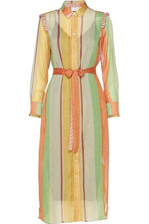 Coster Copenhagen Kvinna Mönstrade klänningar - Dress W. Ruffles Stroke Print W. Lu Knälång Klänning Multi/mönstrad