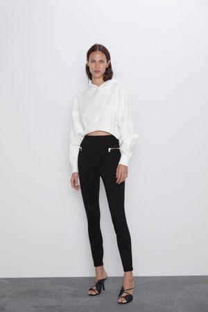 Zara Kvinna Leggings & Treggings - Leggings med hög midja och dragkedjor