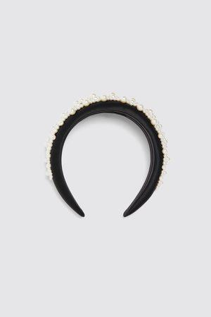Zara Diadem i glättat tyg med pärlor