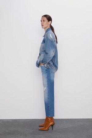 Zara Korta jeans z1975 hög midja straight med revor