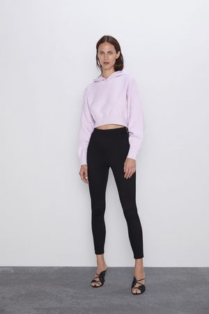 Zara Kvinna Leggings & Treggings - Leggings av ottomantyg med dragkedja