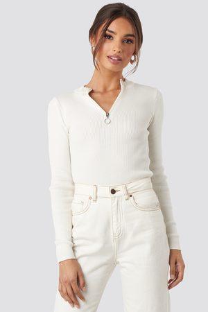 NA-KD Zip Knitted Sweater - Stickade tröjor - Vit - Medium