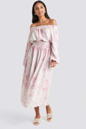 NA-KD Tie Dye Off Shoulder Midi Dress