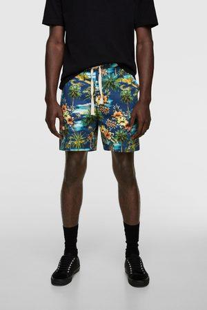 Zara Bermudashorts med tropiskt mönster