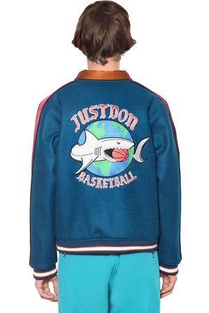 JUST DON Reversible Zip Up Wool Bomber Jacket
