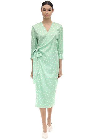 Aéryne Kvinna Mönstrade klänningar - Cowry Printed Satin Wrap Dress