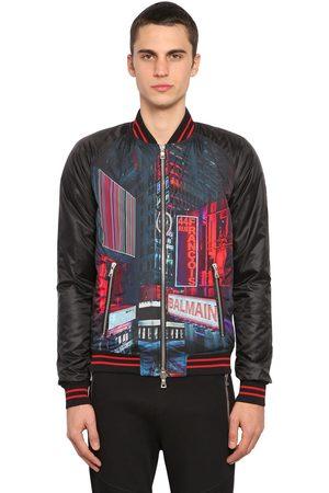 Balmain Man Bomberjackor - Printed Tech Satin Bomber Jacket