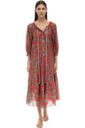 Borgo De Nor Kvinna Mönstrade klänningar - Natalia Floral Print Silk & Cotton Dress