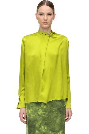 MARQUES'ALMEIDA Satin Shirt W/ Buckle Collar