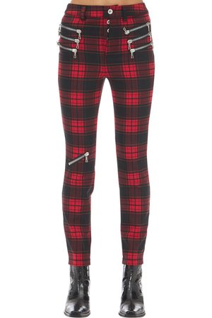 UNRAVEL Kvinna Slim & Skinny byxor - Triple Zipped Plaid Skinny Pants