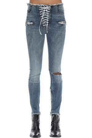 UNRAVEL Lace-up Skinny Leg Cotton Denim Pants