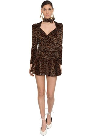 The Attico Kvinna Mönstrade klänningar - Leopard Print Stretch Velvet Mini Dress