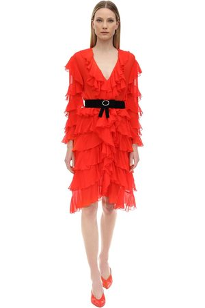MARIANNA SENCHINA Ruffled Silk Midi Dress