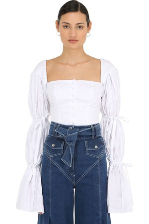Sara Battaglia Ruffled Cotton Poplin Shirt