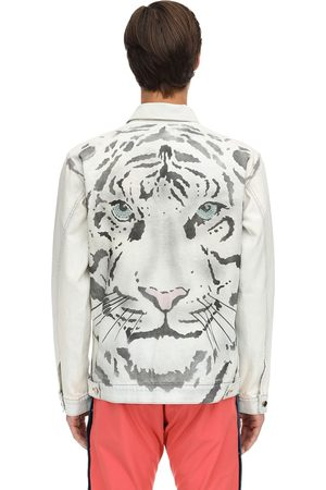 JUST DON Tiger Print Cotton Denim Jacket