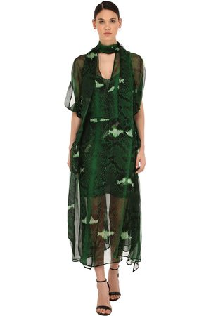 PETAR PETROV Snake Print Silk Mousseline Dress