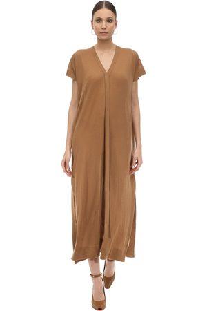 Agnona Kvinna Stickade klänningar - Long Cashmere Knit V Neck Dress
