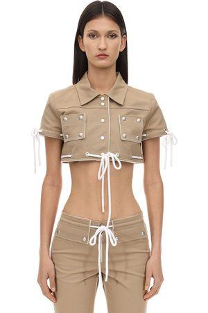 Courrèges Kvinna Jackor - Cropped Cotton Jacket W/ Studs