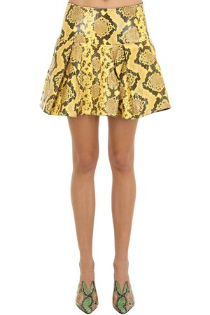 MARQUES'ALMEIDA Kvinna Mönstrade kjolar - Pleated Snake Print Leather Mini Skirt
