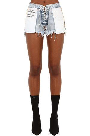 UNRAVEL Stone 10 Reverse Lace-up Denim Shorts