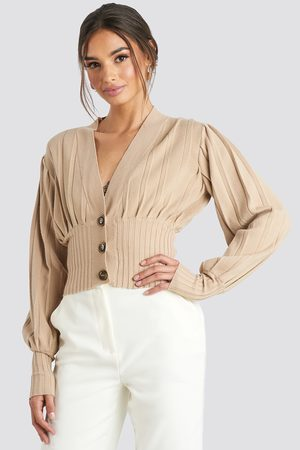 NA-KD Short Ribbed Cardigan - Stickade tröjor - Beige - XX-Small